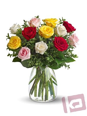 Mixed Roses in Vase