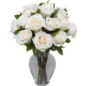 12 White Roses in Vase
